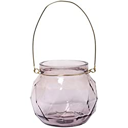 Hosley Set of 4, 4.75'' Gray Geo Glass Lanterns. Ideal for Weddings, Parties and Special Events. W1