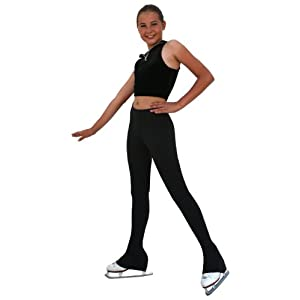 "Chloe Noel Figure Skating All Black 3"" Waist Band Skate Pants P22"