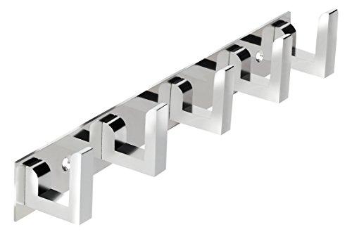 DOCOSS ®  Classic Glossy  5 Pin Bathroom Cloth Hooks Hanger Door Wall Robe Hooks Rail for Hanging Keys,Clothes,Towel Steel Hook  1