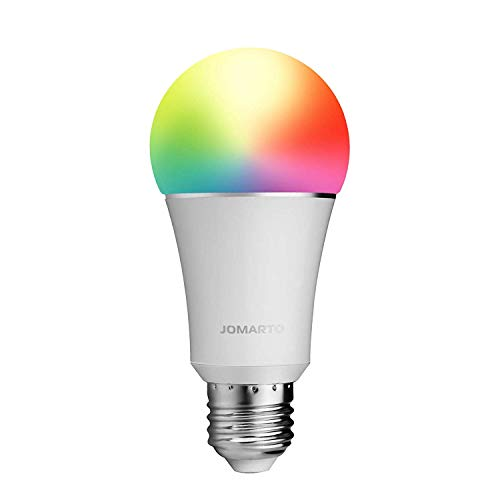 WiFi Smart Light Bulb, Compatible with Alexa Echo and Google Home, 60W Equivalent 900LM Multicolored LED 6500K Dimmable Light Bulb APP Remote Control No Hub Required by JOMARTO (9W E26)