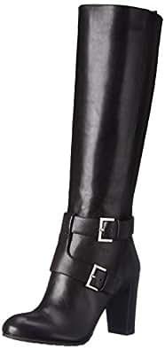 Nine West Women's Skylight Leather Knee High Boot, Black, 8.5 M US