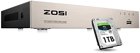 ZOSI H.265 8 Channels 4-in-1 1080N 720P DVR Video Security Digital Recorder with 1TB Hard Drive,8CH Surveillance System Network Motion Detection for 720P,1080P Home CCTV Security Camera System