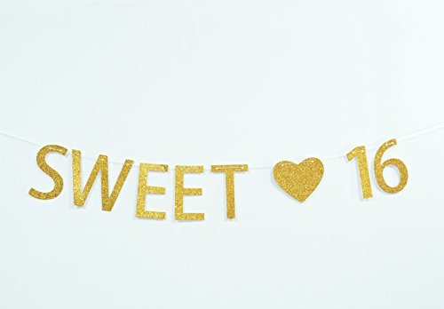 Firefairy Sweet 16 Gold Glitter 16th Birthday Banner – Sweet Sixteen Decorations, Party Favors, Supplies, Gifts, Themes and Ideas - Happy 16th Birthday -