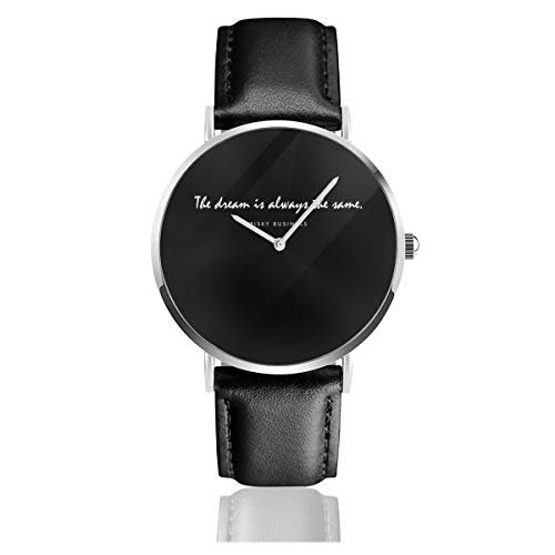 Unisex Business Casual Risky Business Opening Lines Watches Quartz Leather Watch with Black Leather Band for Men Women Young Collection Gift