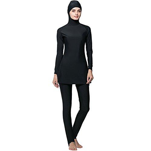 9cbfe5db3258c Plus size S-6XL women sunscreen Muslim Swimwear Islamic Full Cover hijab Modest  Swimsuit Beachwear (6XL – US Size 18-20, Black)