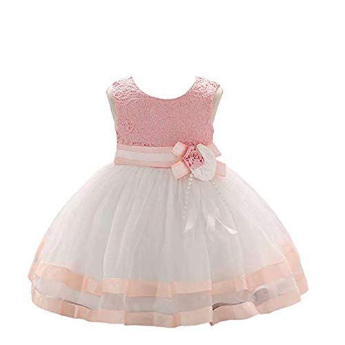 kids Showtime Girls Baby Dressess Toddler Flowers Baby Dresses Party Wedding Pageant Prom Formal Lace Cotton Baby Dress for Special Occasion Baby Girls Dresses Elegant (Dusty -