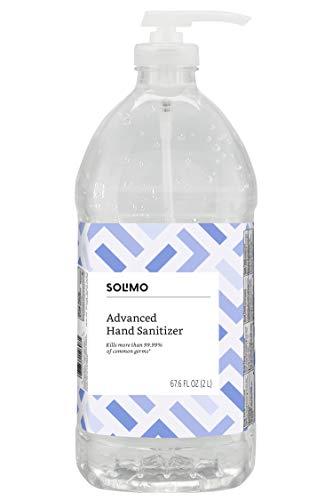 Amazon Brand - Solimo Advanced Hand Sanitizer with Vitamin E, Original Scent, Pump Bottle, 67.59 Fl Oz (Pack of 1)