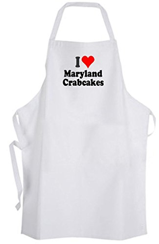 I Love Maryland Crab Cakes - Adult Size Apron - Chef Cook Kitchen Food ()