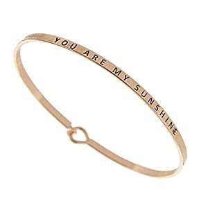 (Gift Boxed) ST Collection Women's -You are My Sunshine- 3mm Message Silver Plated Brass Bangle Bracelet