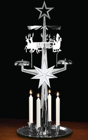 German Candle Carousel - Alexander Taron Importer 9012N Swedish Design Nickel Christmas Chime with Candles-11.75