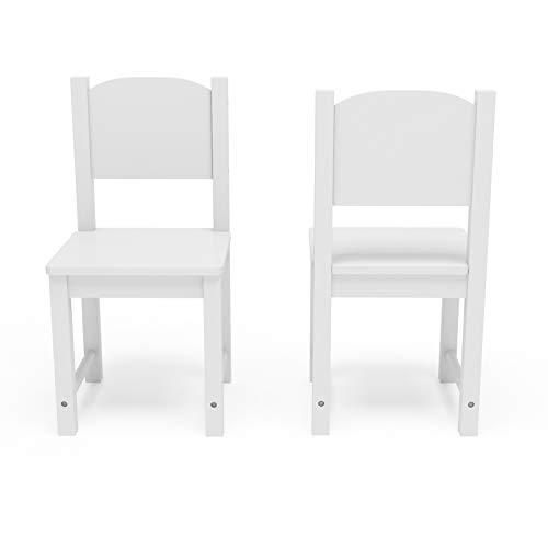 Timy Toddler Wooden Chair Pair, White Kids Furniture for Eating, Reading, Playing 2 Pack