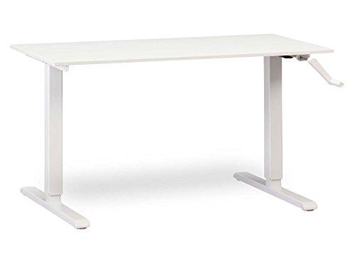 "MultiTable Height Adjustable Crank Standing Desk with White Frame + Large Desktop 29"" x 57"" x 3/4"", Designer White"