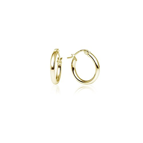 LOVVE Yellow Gold Flashed Sterling Silver High Polished Round-Tube Click-Top Hoop Earrings, All Sizes