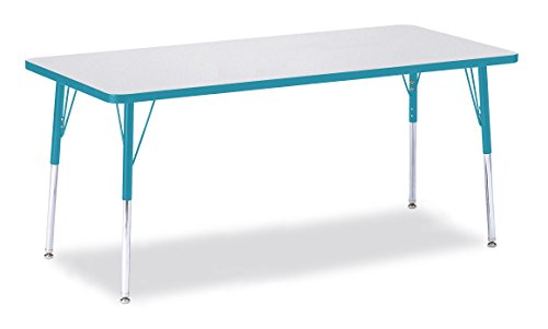 Berries 6413JCA005 Rectangle Activity Table, A-Height, 30'' x 72'', Gray/Teal/Teal by Berries