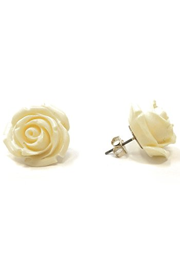 Ivory Resin Rose - Sidecca Retro Colored Rose Large 20mm Resin Stud Post Earrings (Ivory, 22)