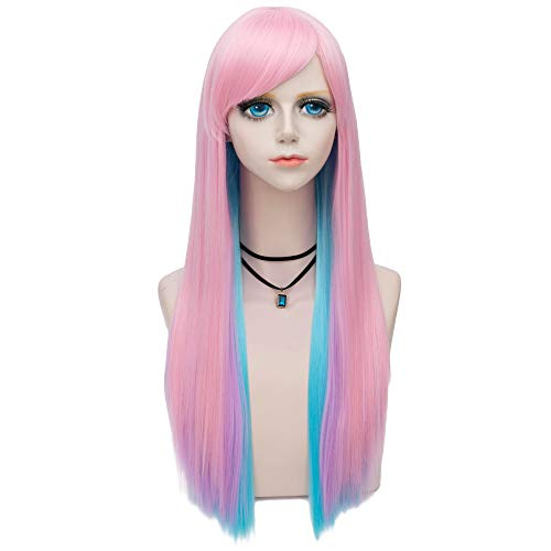 Amback Long Straight Women Side Bang Mix Color Wigs Costume Party Halloween Sale Wig (Pink Mix Blue) ()