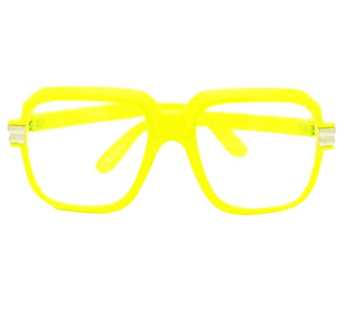 Yellow-Clear Retro Clear Lens Gazelle Run Dmc Style Black Sun Glasses w/ Metal - Dmc Run Frames Glasses
