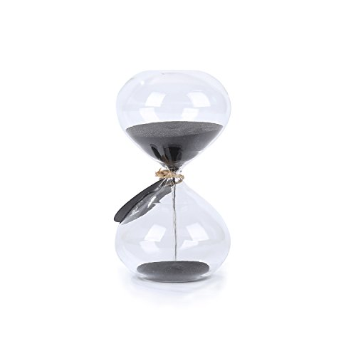 SWISSELITE Biloba 4.5 Inch Puff Sand Timer/Hourglass 3 Minutes - Black Color Sand - Inspired Glass/Home, Desk, Office Decor]()
