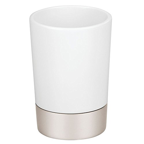 InterDesign 15570 Sedona Ceramic Tumbler Cup for Bathroom Vanity Countertops, Satin White/Nickel