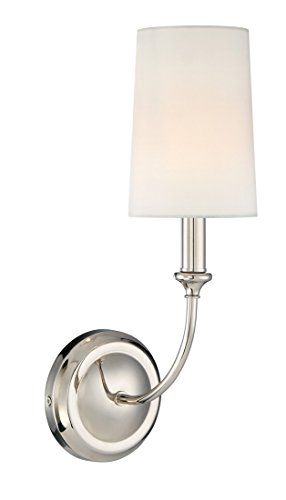 Chrome Transitional 1 Light (Crystorama 2241-PN Transitional One Light Wall Sconce from Sylvan collection in Chrome, Pol. Nckl.finish,)