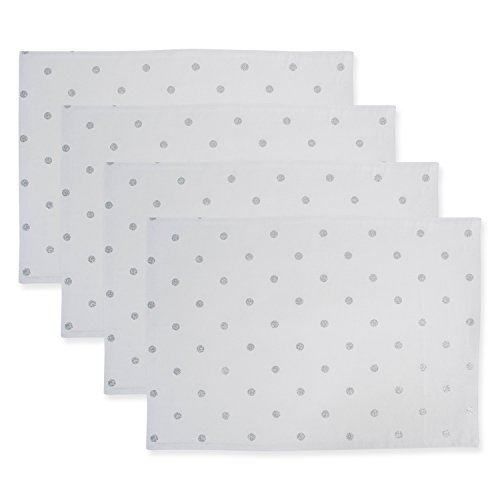 DII Z02222 Printed Reversible Polka Dot Cotton Placemat, Perfect for Brunch, Catering Events, Dinner Parties, Buffets, Spring Weddings or Everyday Use, Metallic Silver 4 Pack (Metallic Linens Placemats Silver Table)