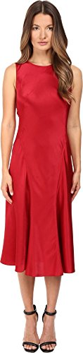 Alberta Ferretti Women's Sleeveless Satin Dress, Ruby, (Alberta Ferretti Sleeveless)