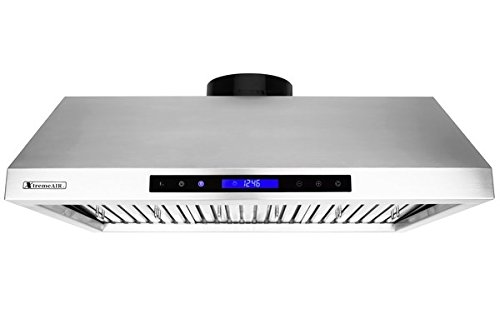 XtremeAir PX12-U36, 36'',LED Lights, Baffle Filter W/ Grease Drain Tunnel, 1.0mm Non-Magnetic Stainless Steel, Under Cabinet Mount Hood