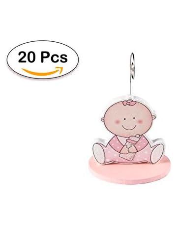 Lote de 20 Pinzas Portafotos Bebé Rosa - Recuerdos, Detalles, regalos para Bautizos