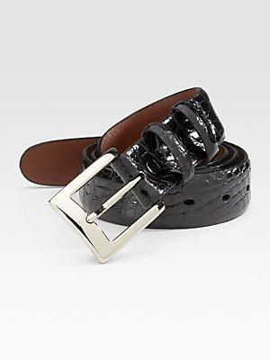 Torino 30mm American Alligator Belt - Black 34 - Glazed Alligator Belt
