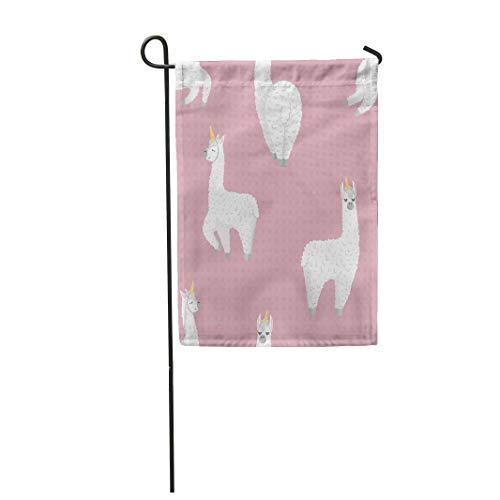 Semtomn Garden Flag Llama Cute Cartoon Lama Alpaca Unicorn Horn Polka Dot 12