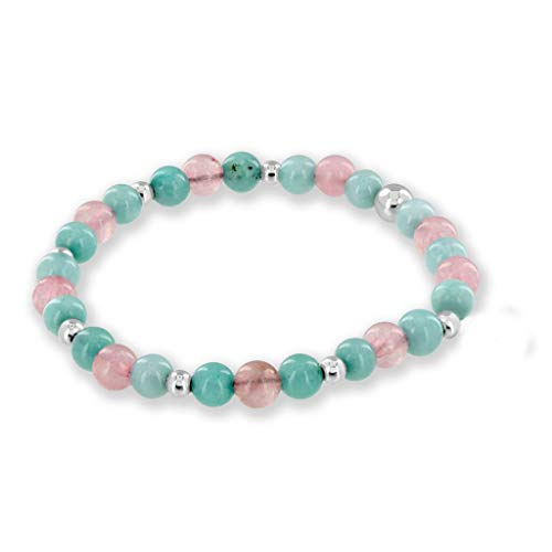 Believe London Aquamarine & Morganite Gemstone Bracelet Healing Bracelet Chakra Bracelet Anxiety Crystal Natural Stone Men Women Stress Relief Reiki Yoga Diffuser Semi Precious ()