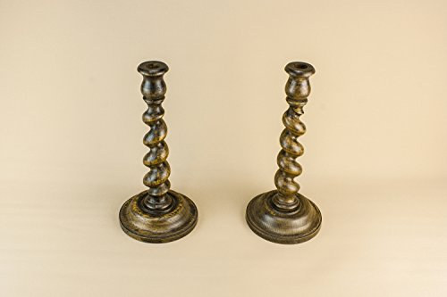 2 Wooden Beautiful CANDLESTICKS Barley Twist Tall Arts Crafts Old Antique Decor Holder English Circa 1900 LS - Wood Barley Twist