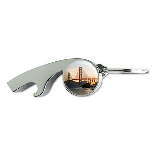 Golden Gate Bridge San Francisco Chrome Plated Metal Whistle Bottle Opener Keychain Key Ring -