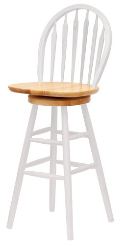 Winsome Wood 30-Inch Windsor Swivel Seat Barstool, Natural/White