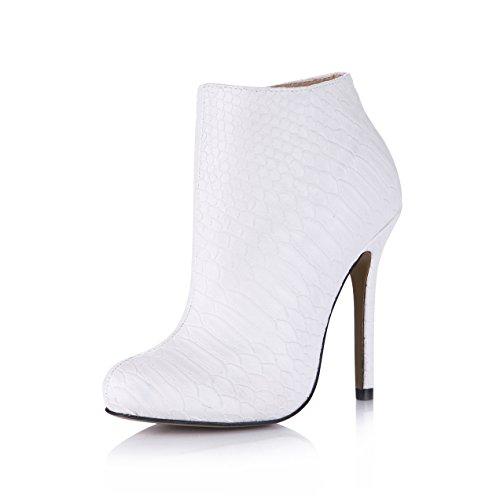 Donna Sexy Tacco Tondo Scarpe Serpente Bianco Chmile Bootie Vestono Donne Punta Stiletto Alto Chau Tacco Da Xwg7URxq