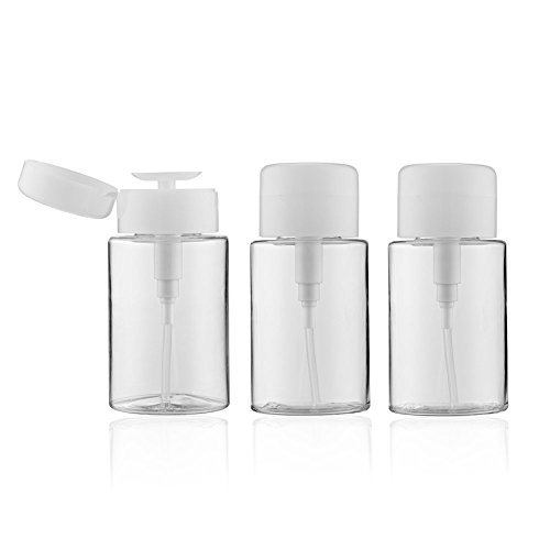 LONGWAY 6.8 Oz (200ML) Plastic Empty Push Down Dispenser with Flip Top - for Nail Polish Remover Pump Dispenser Bottle Container/Alcohol Pump Dispenser - BPA Free (Pack of - Top Flip Transparent