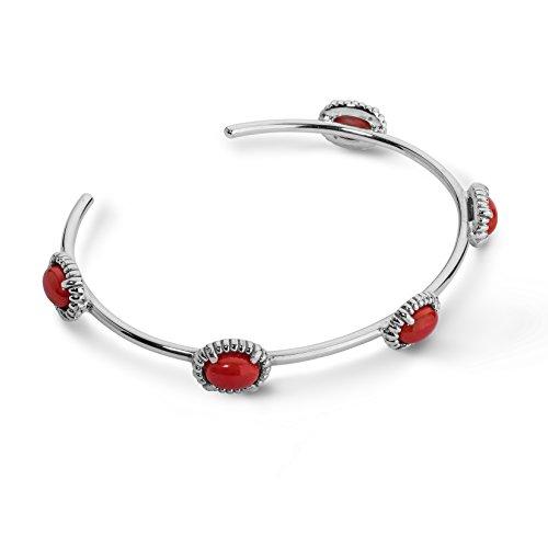 (Carolyn Pollack Sterling Silver Red Coral Gemstone 5-Stone Cuff Bracelet Size Medium)