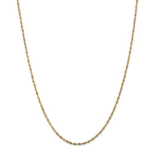 Real 14kt Yellow Gold 1.8mm D/C Extra-Light Rope Chain; 20 - Rope D/c Chain