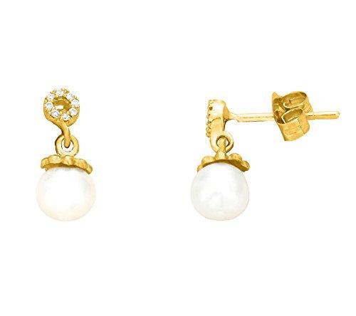 Libertini Boucle d'oreille argent 925 plaque or Jaune serti de Diamant et Perle en fArgentme de Rond