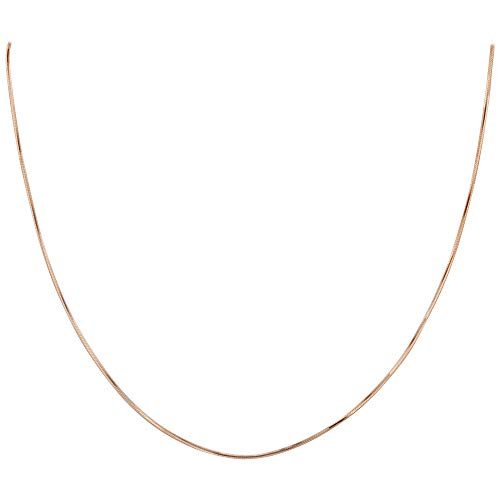 14k Rose Gold over Italian 925 Sterling Silver 1mm Snake Kids 14 Chain Diamond-Cut Vermeil Necklace