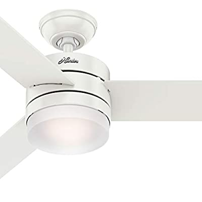 Hunter Fan 54 inch Contemporary Fresh White Indoor Ceiling Fan with Light Kit and Remote Control (Renewed)