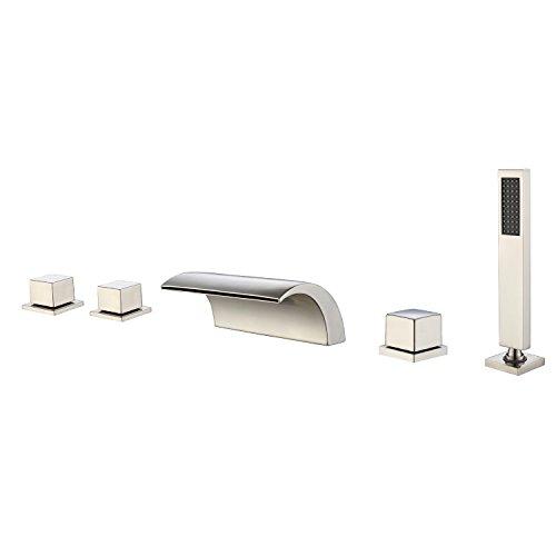 Sumerain Deck Mount Roman Tub Faucet, Triple Handles with Hand Shower, High Flow Rate