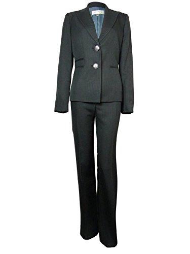 (Evan Picone Women's Pinstriped Park Avenue Pant Suit (6, Black/Blue))