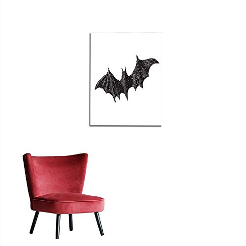 longbuyer Wallpaper Hand Drawn bat with Open Wings Isolated on White Background Pencil Drawing Scary Halloween Collection Mural 16