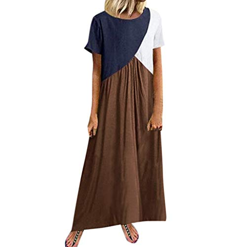 Women Dresses Summer Vintage Triple Color Block O- Neck Maxi Dress Pleated Loose Casual Beach Party Maxi Dress