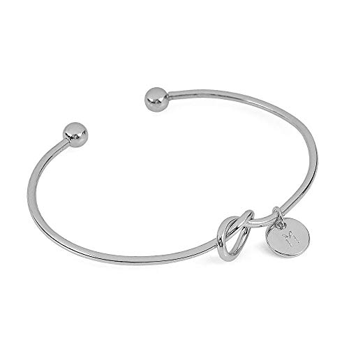 Botrong Bracelets for Women, European and American Style Heart Shape Metal Simple Knotted Bracelet 26 Letters (M, ()