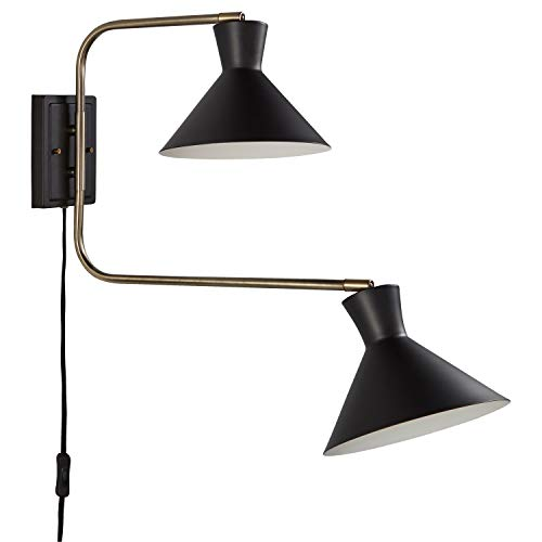 Rivet Mid-Century Swiveling Long Arms Pivoting Head Plug-In, Hardwire, or 2-in-1 Option Wall Sconce Light with Bulb, 19.5
