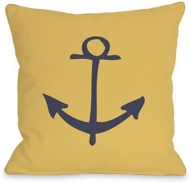One Bella Casa Vintage Anchor Outdoor Throw Pillow