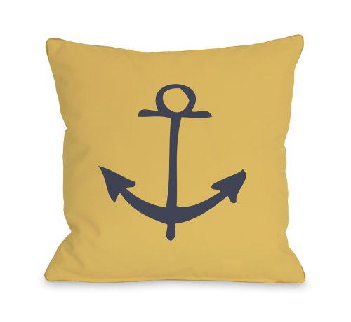 One Bella Casa Vintage Anchor Outdoor Throw Pillow by OBC, 16