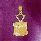 Gold Snare Drum Charm - 14k